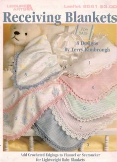 Leisure Arts 2581 Receiving Blankets Crochet Patterns Baby Edgings Flannel 1994 #LeisureArts