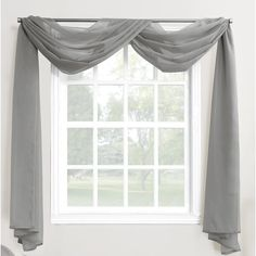 918 Emily Sheer Voile Rod Pocket Window Window Curtain Scarf In Charcoal - This elegant No. 918 Emily Voile Rod Pocket Window Curtain Scarf gently captures light and brings elegant beauty to the windows of any living space. Scarf Curtains, Window Scarf, Voile Curtains, Panel Curtains, Curtain Panels, Curtains Living, Hanging Curtains, Camper Curtains, Small Window Curtains