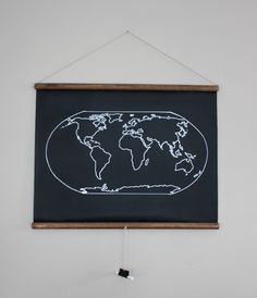 Chalkboard World Map. $60.00, via Etsy. Mark up your fave travel spots. Cool for kids room, too.
