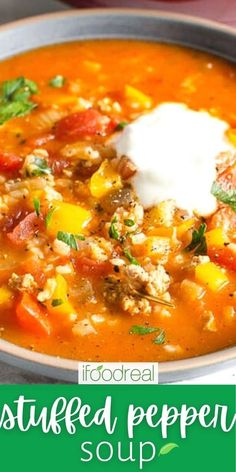 Stuffed Pepper Soup has everything you love about stuffed peppers, but without all the work. This easy recipe is made with simple ingredients like ground turkey or beef, rice, bell peppers and tomatoes. It is a hearty bowl of soup with a sprinkle of Ukrainian flavour. :) Stuffed Pepper Casserole, Slow Cooker Stuffed Peppers, Stuffed Pepper Soup, Healthy One Pot Meals, Healthy Soup Recipes, Easy Meals, Lazy Cabbage Rolls, Bell Pepper Soup, Dump Meals