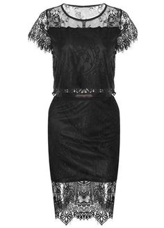 Hot Sale Round Neck Two Pieces Pattern Black Dress | Rosewe.com