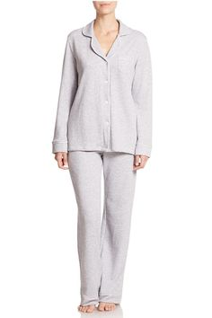 A new design of our popular Bella PJ in a plush French terry. A sophisticated and feminine interpretation of classic men's pajama styles. Super soft and comfortable PJ set made from French Terry. Thick French Terry perfect for winter. Long sleeve button-down shirt with contrasting trimming. Bust pocket. Lapel collar. Pullover pants with contrasting satin trimming. Made in Peru. Bella Pajama Set by Cosabella. Clothing - Lingerie & Sleepwear - Sleepwear California