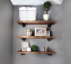 Set Of 3 10 Deep Floating Corner Shelves With Pipe Brackets Farmhouse Rustic Kitchen Shelf Wood Wall