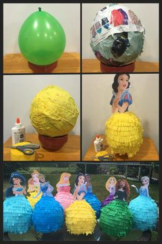 DIY Princess Piñatas Princess Pinata, Disney Princess Birthday Party, Frozen Themed Birthday Party, Cinderella Birthday, Diy Birthday, Birthday Party Decorations, Soccer Birthday Parties, Rosalie, Disney Diy