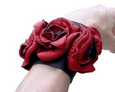 Soft Leather Flowers Cuff Bracelet Red Leather Wedding Cuff, Trilogy Flower Bracelet Red & Black in stock by ManoBello on Etsy https://www.etsy.com/listing/99657838/soft-leather-flowers-cuff-bracelet-red