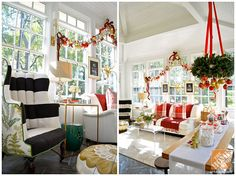 Christmas Decorating Ideas for a Cozy Family Room: A Sunny Family Room Decked Out for the Holidays