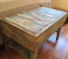 This fun reclaimed wood pallet table can be used as a bench or coffee table. Piece is constructed from reclaimed and recycled pallets that are heat treated. For this piece, the wood is sanded, painted and stained. These fun pieces will bring charm to any room. Designed in a cottage, shabby chic or beach style, although we have a few in stock, these tables or benches are typically made to order. Price is dependent on size. This piece was 30 x 16 x 16 (l x w x h). If you are interested in a…