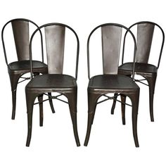 Four Tolix Style Industrial Metal Bistro Chairs