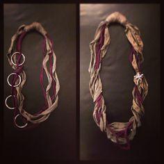Nuove #collane con #fettuccia! (Giuro che le prossime le faccio di altri colori ). #bijoux #handmade #necklace #viola #grigio #anelli #libellula #perline