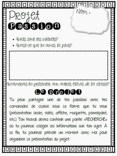 Projet passion - genius hour in French… French Verbs, Inquiry Based Learning, Project Based Learning, Learning Games, French Teacher, Teaching French, Teaching Spanish, Communication Orale, French Flashcards