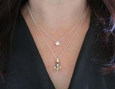 Layered Necklace Rocket Ship and Star Geekery by whatanovelidea