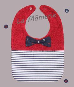 Bavoir bébé chic nœud marin et rayures bleu marine : Mode Bébé par la-momerie