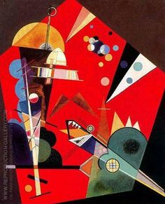 Tension in Red 1926 By Wassily Kandinsky. Replica Paintings on Canvas - Reproduction Gallery Kandinsky Art, Wassily Kandinsky Paintings, Klimt, Abstract Painters, Abstract Art, Cavalier Bleu, Franz Marc, Oil Painting Reproductions, Art For Art Sake