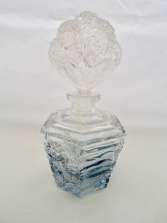 Vintage I Rice Perfume Bottle Clear and Blue Glass Umbre Style