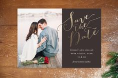 """Cottonwood"" - Elegant, Classical Save The Date Postcards in Storm by Eric Clegg."
