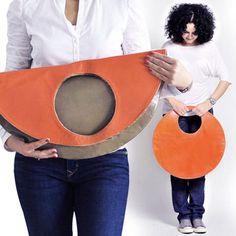 Große Einkaufstasche große Clutch Handtasche orange Kreis
