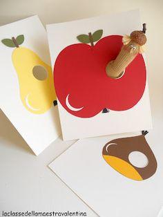 Per treballar la cançó de L'erugueta.  A dintre d'una poma, l'erugueta mira enfora...