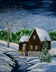 Winter Waterwheel Painting, fine art original realism woodland cabin rustic country western home decor cottage chic victorian