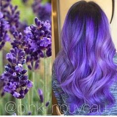 Inspired by flowers! Beautiful lavender hair color and long wavy hair by Pink No. - Inspired by flowers! Beautiful lavender hair color and long wavy hair by Pink Nouveau salon Purple h - Pretty Hair Color, Beautiful Hair Color, Hair Color Purple, Hair Dye Colors, Purple Lilac, Pink, Pelo Color Morado, Lavender Hair Colors, Ombré Hair