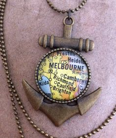Melbourne Vintage Map Necklace: Australia by thenavigatorhandmade Map Necklace, Dog Tag Necklace, Melbourne Map, Projects To Try, Australia, Vintage, Pendant, Unique Jewelry, Handmade Gifts