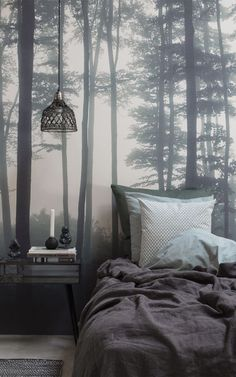 Hippie Home Decor The Sea of Trees forest wallpaper by MuralsWallpaper has been styled here by a customer as part of a cosy, green and dark colour bedroom look. We love the moody vibes and neutral palette! Great inspiration for your own bedroom decor. Forest Theme Bedrooms, Forest Bedroom, Woodland Bedroom, Bedroom Themes, Bedroom Decor, Natural Bedroom, Dark Romantic Bedroom, Dark Cozy Bedroom, Forest Mural