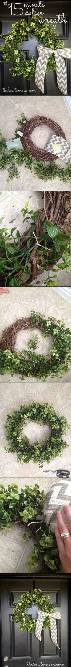 Easy and beautiful wreath from The How To Mom. Love the chevron ribbon!