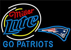 Miller Lite Go New England Patriots Neon Beer Sign, Miller Lite Neon Beer Signs & Lights | Neon Beer Signs & Lights. Makes a great gift. High impact, eye catching, real glass tube neon sign. In stock. Ships in 5 days or less. Brand New Indoor Neon Sign. Neon Tube thickness is 9MM. All Neon Signs have 1 year warranty and 0% breakage guarantee.