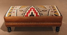 Custom Leather Ottoman with Navajo Textile Inlay
