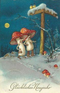 "vintage German ""Good New Year"" postcard Vintage Christmas Cards, Christmas Pictures, Xmas Cards, Christmas Art, Vintage Cards, Christmas Illustration, Illustration Art, Mushroom Art, Fairy Art"