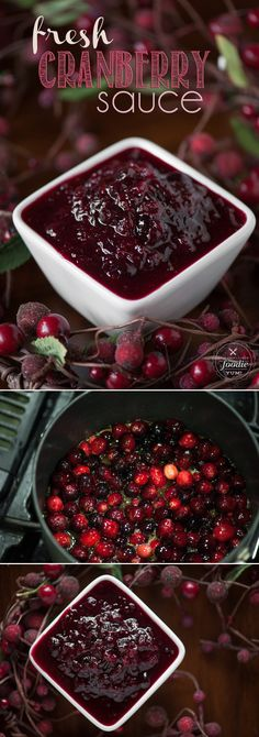 Homemade Cranberry Sauce made with fresh cranberries, orange juice and Grand Marnier is a sweet and incredibly flavorful Thanksgiving side dish. # Food and Drink ideas cranberry juice Fresh Homemade Cranberry Sauce Recipe Best Thanksgiving Recipes, Thanksgiving Side Dishes, Holiday Recipes, Thanksgiving Cranberry Sauce, Thanksgiving Turkey, Thanksgiving Foods Sides, Christmas Desserts, Turkey Side Dishes, Dinner Recipes