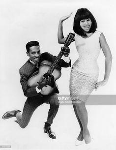 Photo of Tina TURNER and Ike TURNER and Ike & Tina TURNER; Ike Turner & Tina Turner, B&W Posed, studio, c.1966,