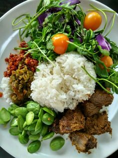 Singapore Malay rice. With dried curried beef and mixed salad.