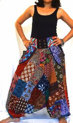 Yoga in style: Hippy Harem Aladin Yoga Pants, Indian Cotton, One Size Fits S-XL