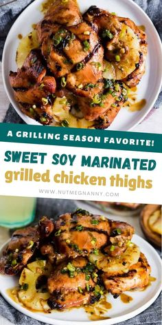 These sweet soy marinated grilled chicken thighs are the perfect summer grilling recipe. Packed full of flavor and marinated in brown sugar, soy sauce, coconut milk and tons of flavorful spices. They are grilled to perfection and will please even the pickiest of eaters. Marinated Grilled Chicken, Grilled Chicken Thighs, Brown Sugar Chicken, Summer Grilling Recipes, Low Sodium Soy Sauce, Chili Garlic Sauce, Gluten Free Chicken, Good Food