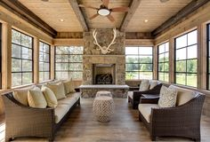 Sunroom Ceiling - Design photos, ideas and inspiration. Amazing gallery of interior design and decorating ideas of Sunroom Ceiling in living rooms, decks/patios, dens/libraries/offices by elite interior designers. Home Design, Luxury Interior Design, Interior Ideas, Interior Modern, Rustic Sunroom, Sunroom Ideas, Sunroom Dining, Stone Fireplace Designs, Fireplace Ideas