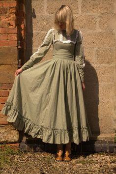Vintage 1970s RARE Laura Ashley Green Tree Print Prairie Maxi Dress S