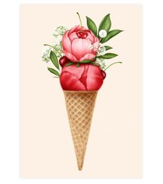 Cherry Peonies Sorbet Art Print Blank Cards, Sorbet, White Envelopes, Peonies, Greeting Cards, Art Prints, Paper, Instagram Posts, Artwork