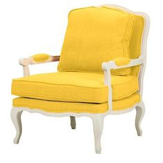 Antoinette Classic Antiqued Fabric French Accent Chair Yellow  - Baxton Studio