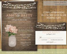 Mason Jar Wedding Invitation Rustic Chic Wedding Invite RSVP Printable Coral Peach Hydrangea Country Boho Barn Wedding DIY Digital Template Wedding by NotedOccasions