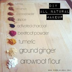 DIY Beauty Recipes ~ Natural make up made from powdered ingredients like turmeric, arrowroot and beetroot.