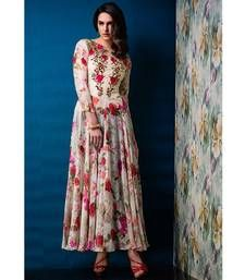 Buy Cream printed Net and Raw Silk party-wear-salwar-kameez party-wear-gown online