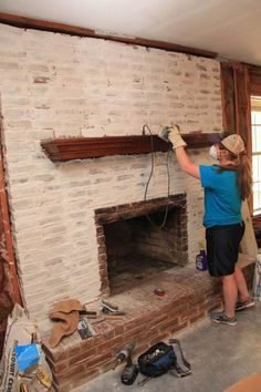 Brick Mortar Wash, Before & After & Maybe a Tutorial | Fire place ...
