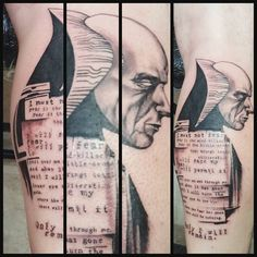 It was a great pleasure to work with a fellow #Dune fan especially one who was willing to let me explore a Toppi sort of approach with this style.  Did this with my #Dringenberg .  The lettering is the Litany Against Fear. Thanks for looking! by johnnyjinxtattoo