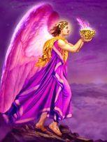 """Zadkiël Zijn naam betekent """"Goddelijke Rechtvaardigheid'Zijn kleur is Violet/RozeWerkt via het hart en kruinChakraZadkiël is de Aartsengel van de groei en zelfontplooiing, bevrijding, vervolmaking en transformatie.Net als de Engel Ariël en Meester Saint-Germain, is hij werkzaam op de violette straal"""