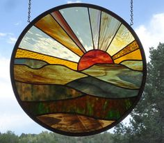 stained glass window panel FOREVER SUNSET