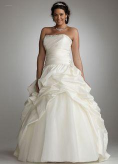 David's Bridal Wedding Dress: Strapless Taffeta Gown with Organza Underlay Style 9WG3120, Ivory