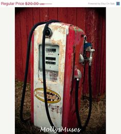 Red Photograph Old Gas Pump Home Decor  Pennzoil by MollysMuses