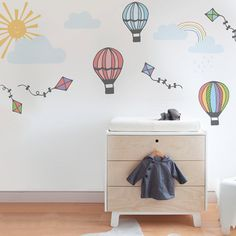 Hot air balloon wall sticker pack in Kids Wall Stickers by Vinyl Impression Childrens Wall Decals, Nursery Wall Stickers, Removable Wall Stickers, Kids Wall Decals, Vinyl Wall Stickers, Balloon Wall, Hot Air Balloon, Balloons, Diy Design
