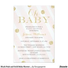 Blush Pink Stripes and Gold Confetti Dots Baby Shower Invitations. Design by fancypaperie.