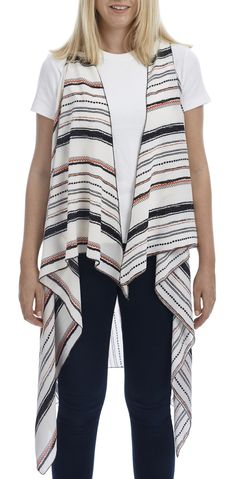 Georgette Striped Scarf Vest (2-in-1 Style)